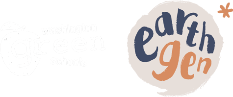 The old Washington Green Schools logo is faded next to the bright exciting new EarthGen logo!